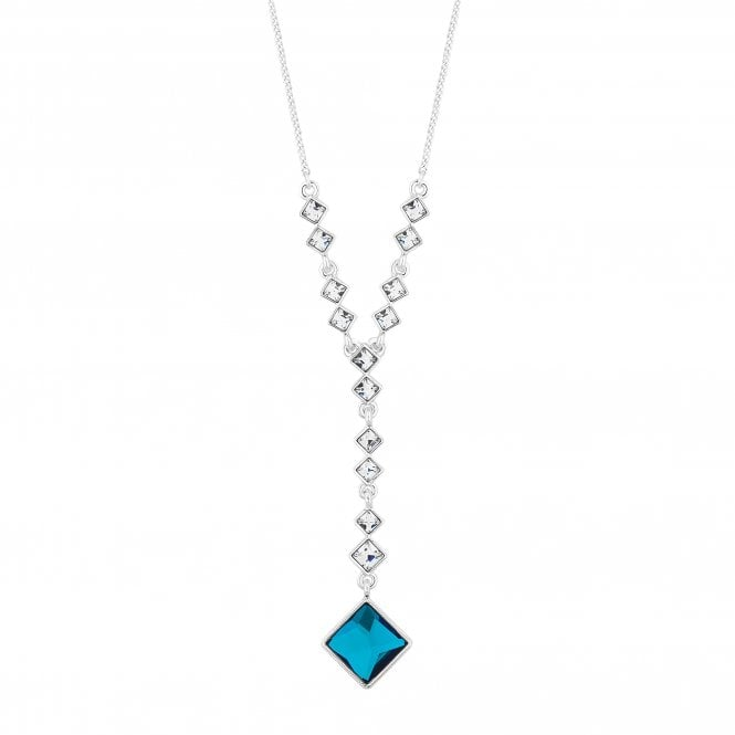 Silver Bermuda Blue Square Lariat Necklace Embellished With Swarovski Crystals