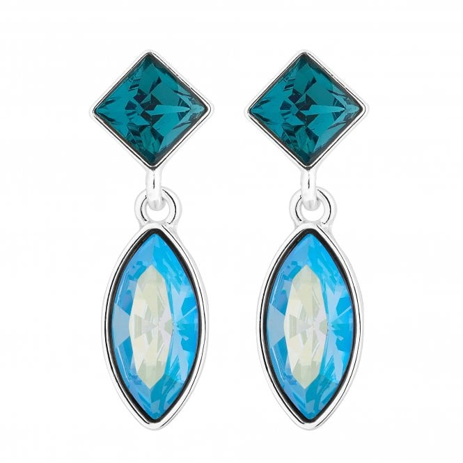 Silver Blue Crystal Charm Drop Earring Embellished With Swarovski Crystals