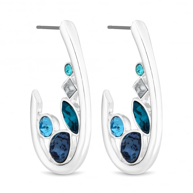 Silver Blue Crystal Hoop Earring Embellished With Swarovski Crystals