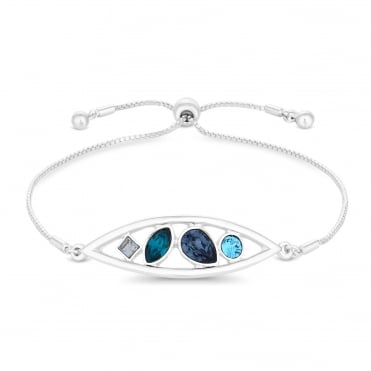 Silver Blue Crystal Pear Drop Bracelet Embellished With Swarovski® Crystal