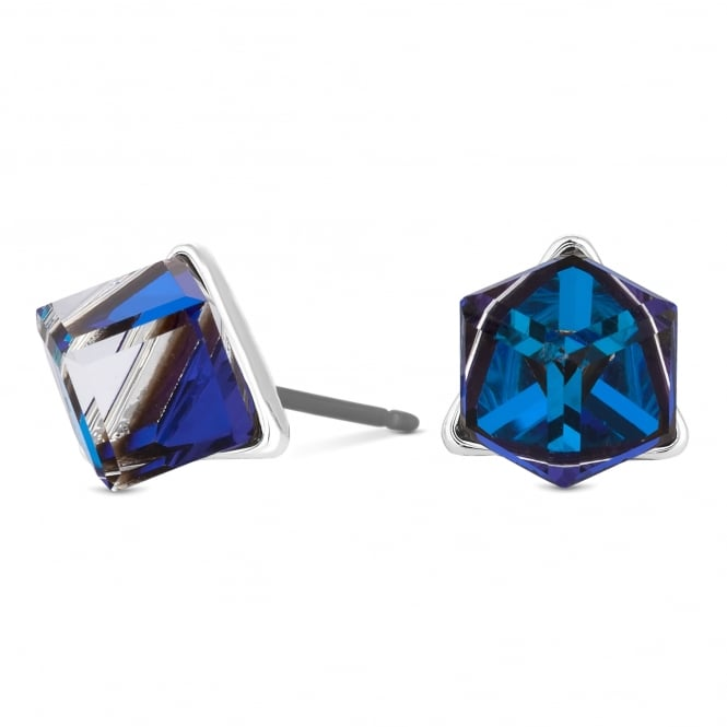 Jon Richard made with Swarovski® crystals Silver Blue Cube Stud Earring Embellished With Swarovski® Crystals