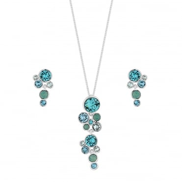 Silver Blue/ Green Cluster Jewellery Set Embellished With Swarovski® Crystals