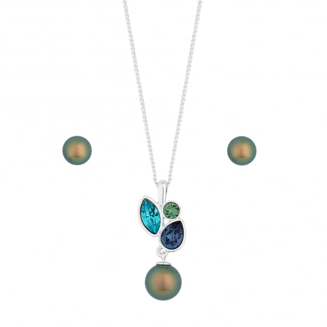 Silver Blue/ Green Pearl And Crystal Jewellery Set Embellished With Swarovski Crystals