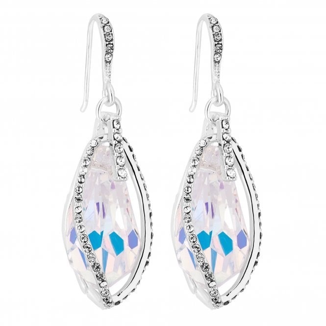 Silver Caged Crystal Drop Earring Embellished With Swarovski Crystals