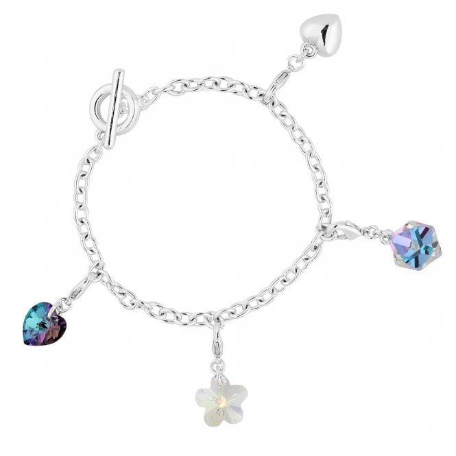 Silver Crystal Multi Charm Bracelet Embellished With Swarovski Crystals