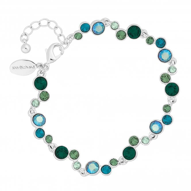 Silver Green Crystal Statement Bracelet Embellished With Swarovski Crystals