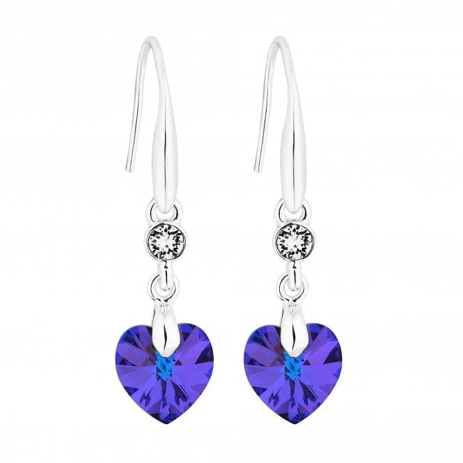 Silver Heart Drop Earring Embellished With Swarovski Crystals