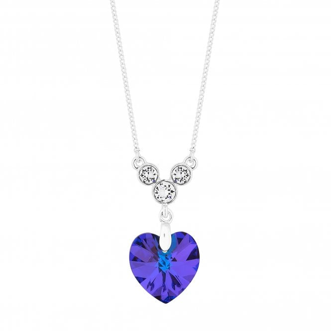 Silver Heart Pendant Necklace Embellished With Swarovski Crystals
