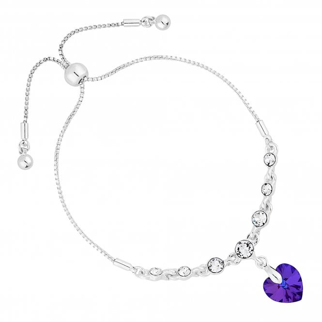 Silver Heart Toggle Bracelet Embellished With Swarovski Crystals