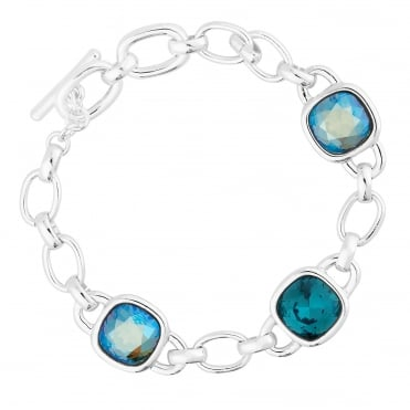 Silver Links And Blue Faceted Crystal Bracelet Embellished With Swarovski® Crystals