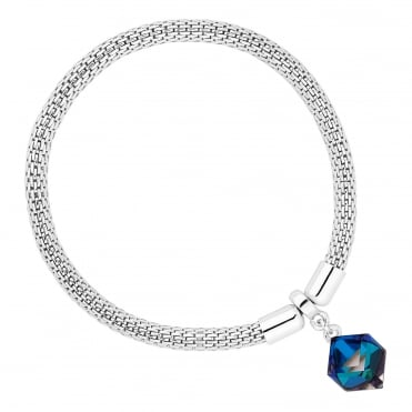 Silver Mesh And Blue Cube Bracelet Embellished With Swarovski® Crystals
