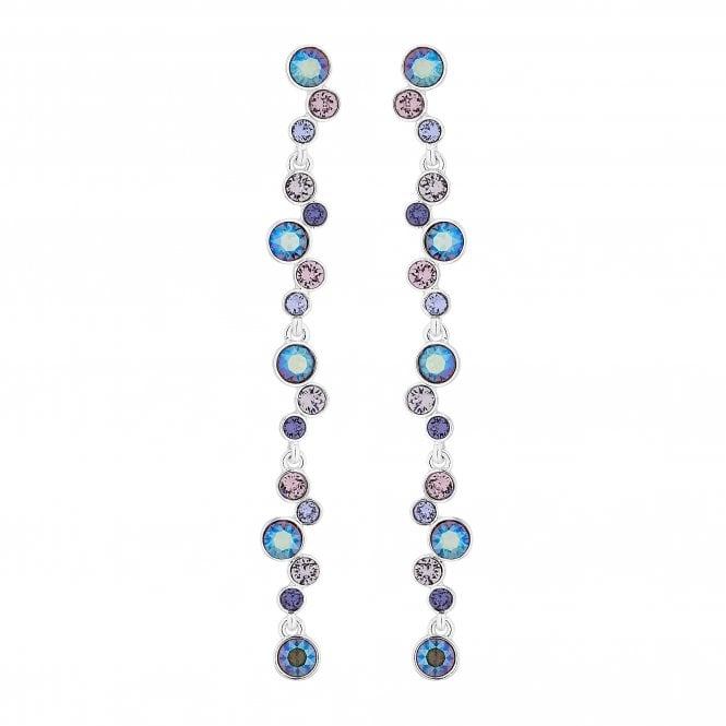 Silver Pastel Statement Drop Earring Embellished With Swarovski Crystals