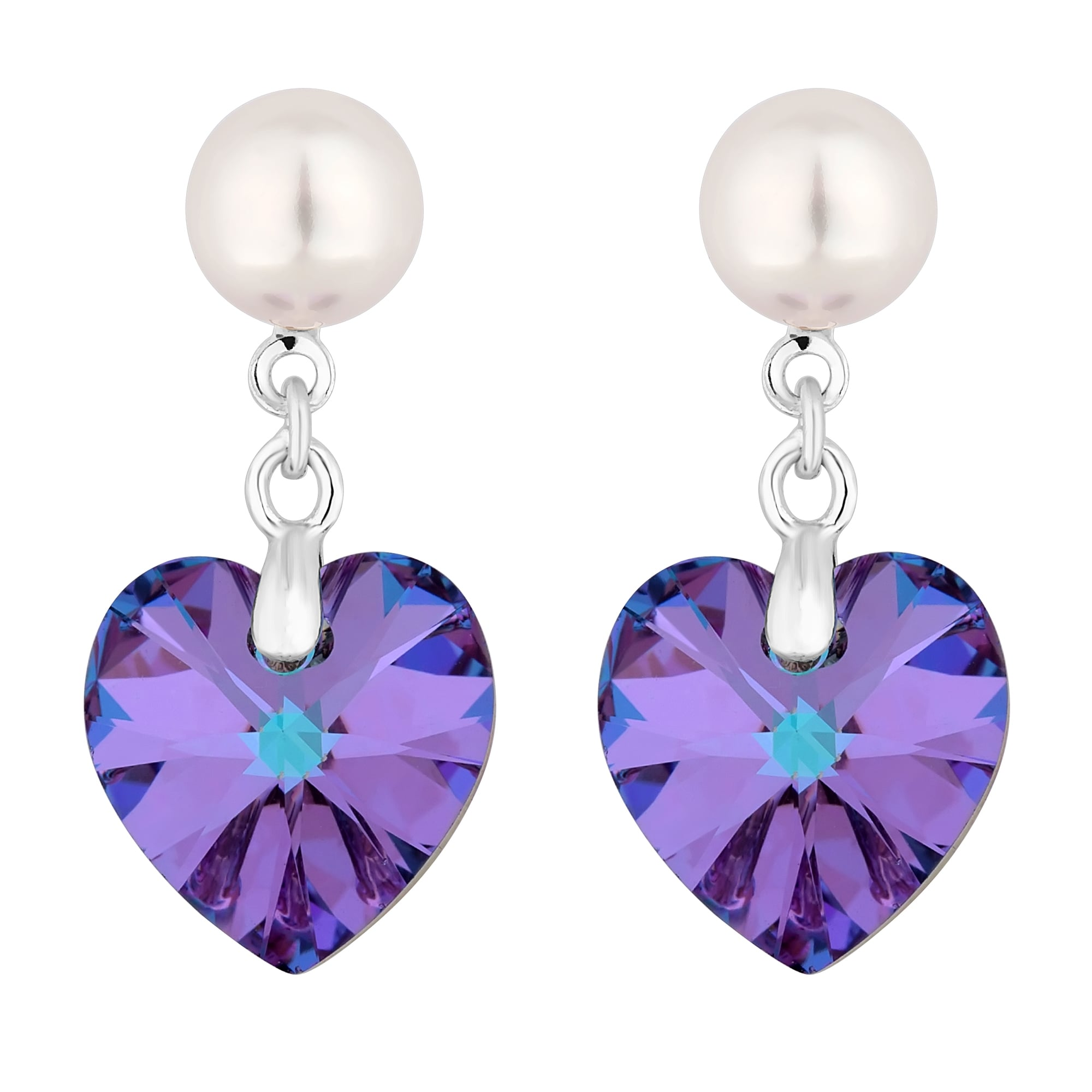Jon Richard Made With Swarovski Crystals Silver Pearl And Purple Heart Drop Earring Embellished