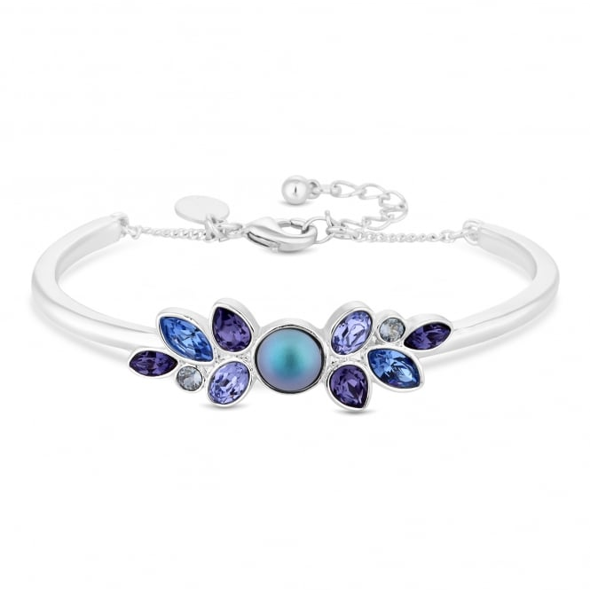 Silver Pearl And Purple Pear Drop Bracelet Embellished With Swarovski Crystal