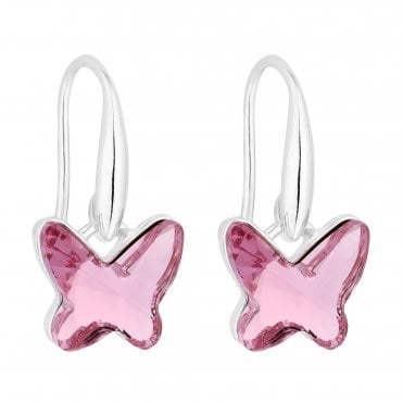Silver Pink Butterfly Drop Earring Embellished With Swarovski® Crystals