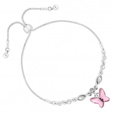 Silver Pink Butterfly Toggle Bracelet Embellished With Swarovski® Crystals