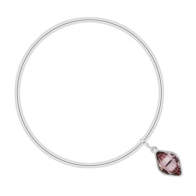 Silver Pink Drop Charm Bangle Embellished With Swarovski Crystals