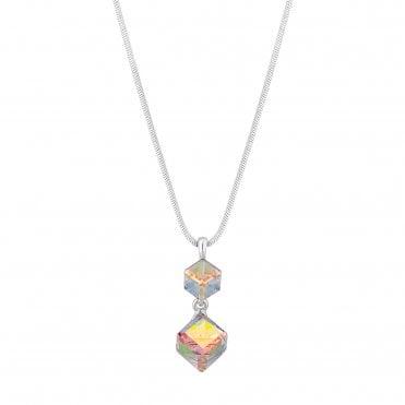 945737546e Silver Plated Aurora Borealis Graduated Cube 3 Drop Cube Short Pendant  Necklace Embellished With Swarovski®. Jon Richard made with Swarovski®  crystals ...