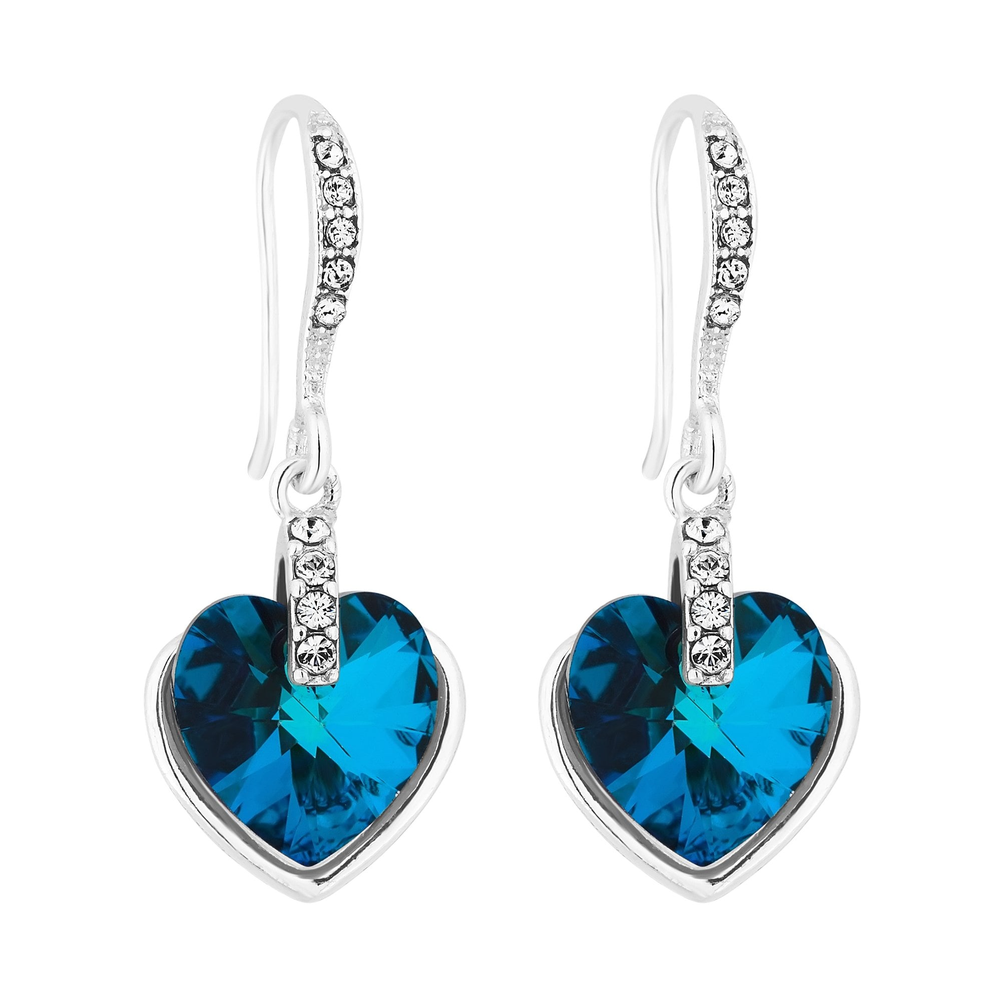 Jon Richard made with Swarovski® crystals Silver Plated Bermuda Blue Heart  Drop Earring Embellished With 2e81e43eff