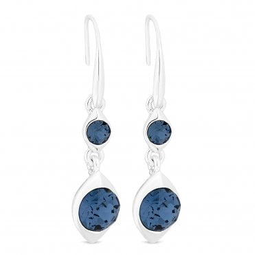 fa16460a7 Silver Plated Blue Crystal Double Drop Earring Embellished With Swarovski®  Crystals