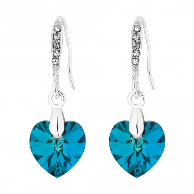 Silver Plated Blue Heart Drop Earring Embellished With Swarovski Crystals