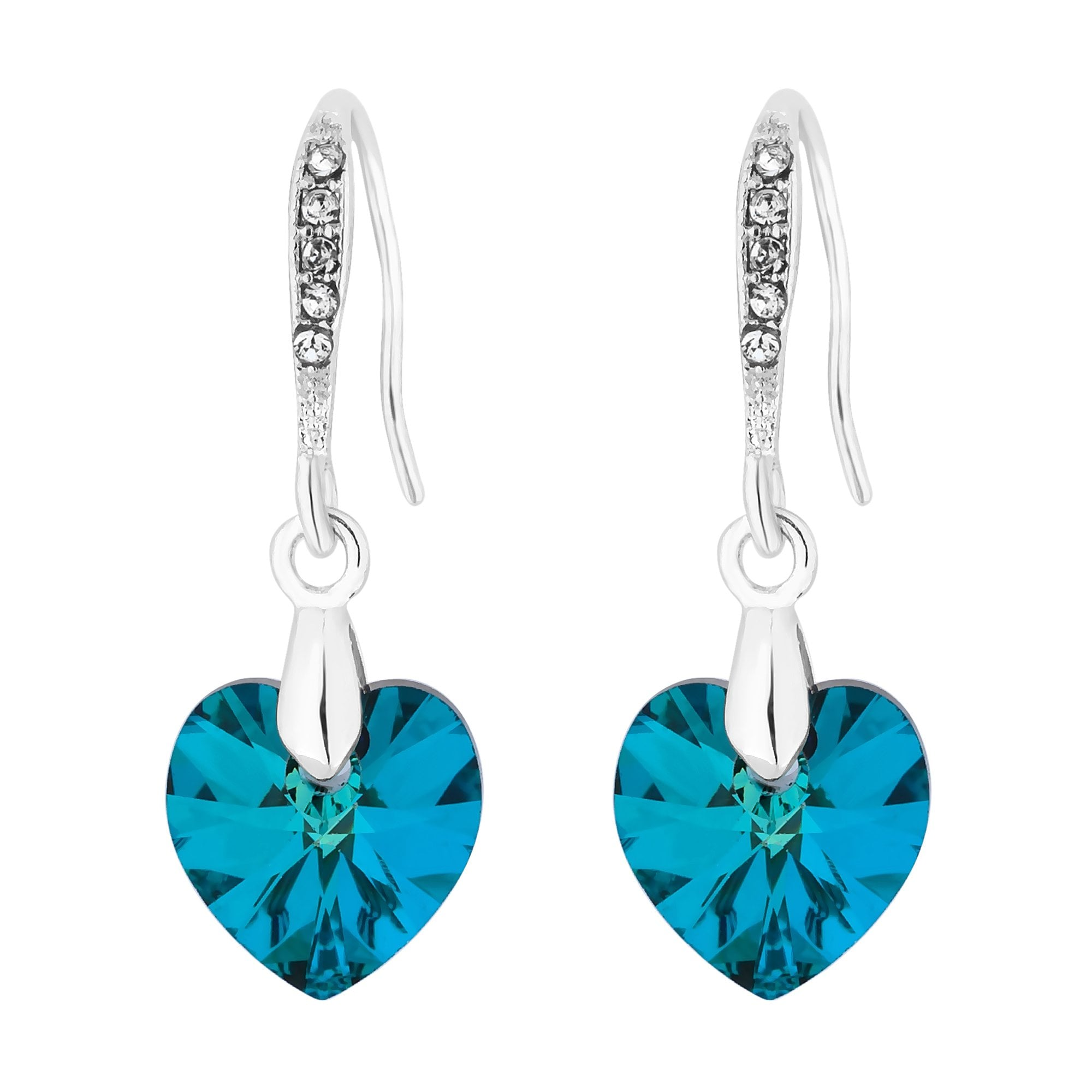 0efbab9c3f659 Silver Plated Blue Heart Drop Earring Embellished With Swarovski® Crystals