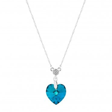 323cb076b8e Silver Plated Blue Heart Short Pendant Necklace Embellished With Swarovski®  Crystals · Jon Richard made ...
