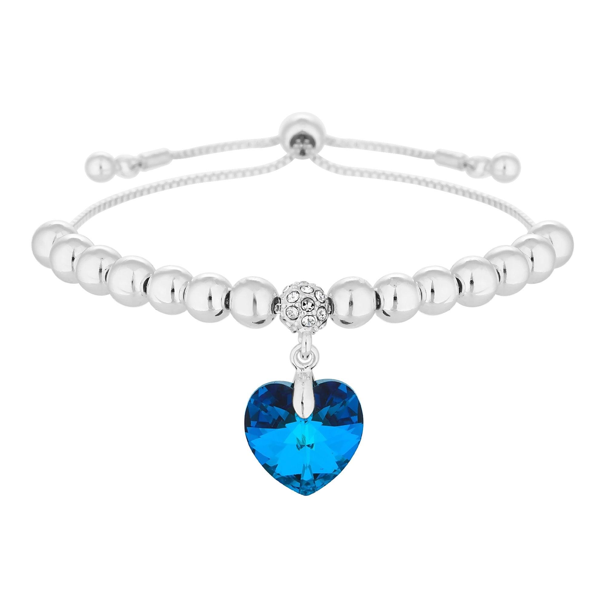 Silver Plated Blue Heart Toggle Bracelet Embellished With Swarovski Crystals