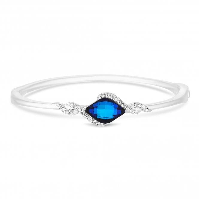 Silver Plated Blue Lemon Fancy Silver Bangle Bracelet Embellished With Swarovski Crystals
