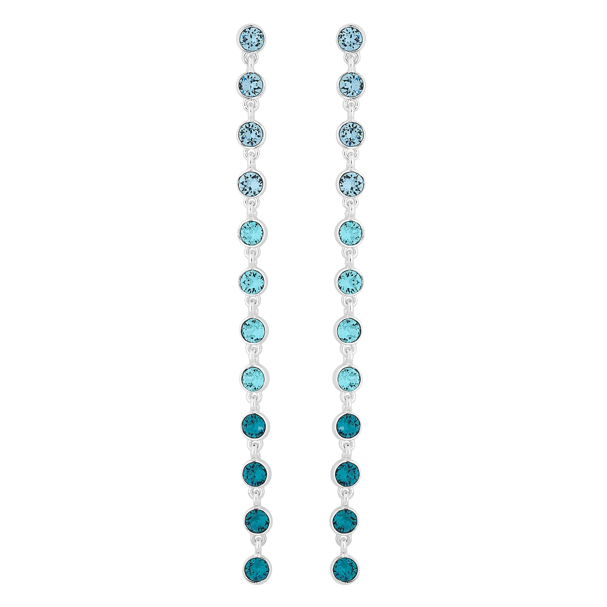 0f50278b6 Jon Richard made with Swarovski® crystals Silver Plated Blue Ombre  Statement Shoulder Duster Drop Earring