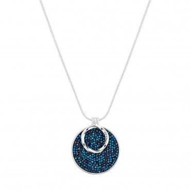 3d51e84546f Silver Plated Blue Polished Short Pendant Necklace Embellished With  Swarovski® Crystals. Jon Richard made ...