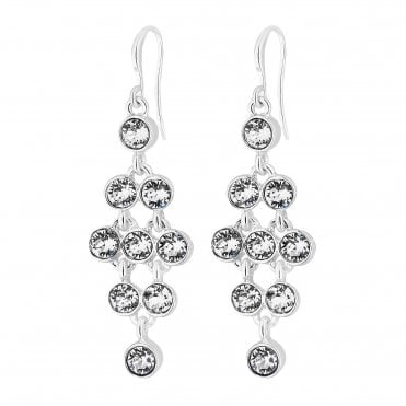 c39f8132d Silver Plated Clear Tennis Drop Earring Embellished With Swarovski® Crystals.  Jon Richard made ...