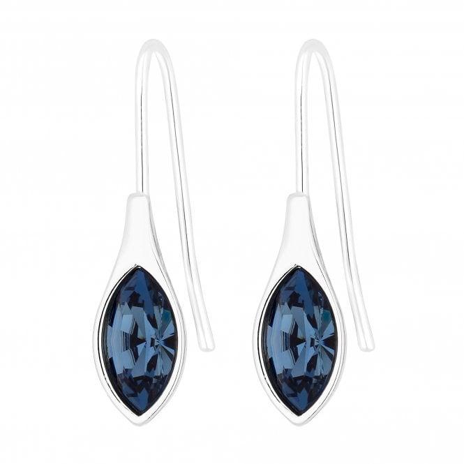 Silver Plated Denim Blue Polished Drop Earring Embellished With Swarovski Crystals