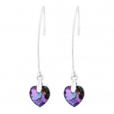 4ef6dbfc1e Silver Plated Purple Heart Drop Earring Embellished With Swarovski® Crystals