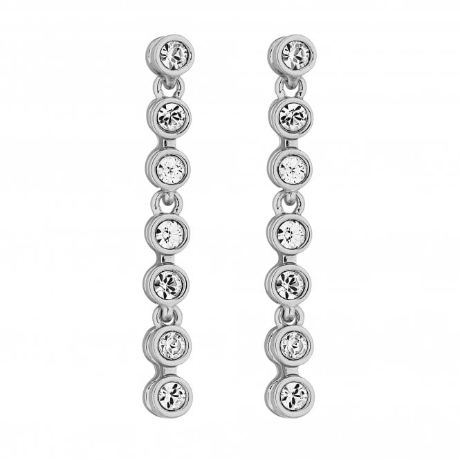 Silver Plated Tennis Crystal Drop Earring Embellished With Swarovski Crystals