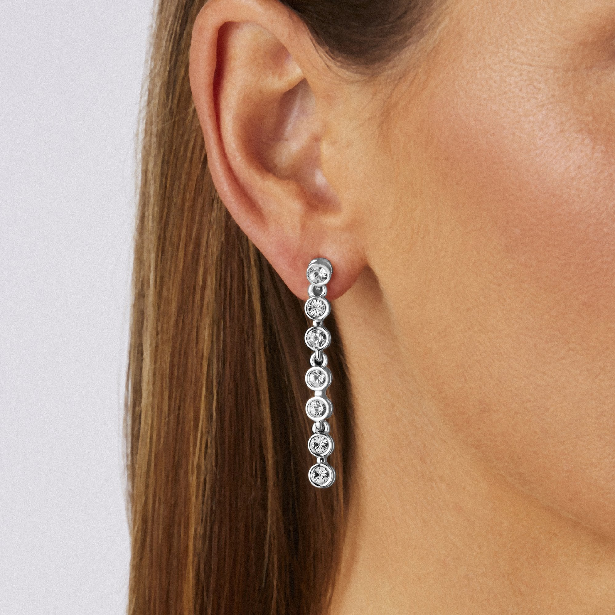 0e2f4cb287494 Silver Plated Tennis Crystal Drop Earring Embellished With Swarovski®  Crystals