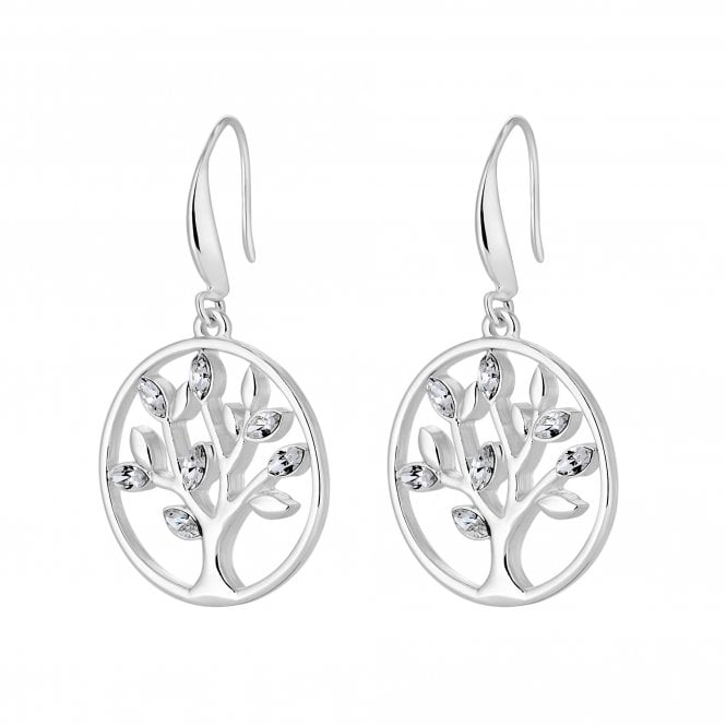 Image of Silver Plated Tree Of Life Toggle Earring Made With Swarovski Crystal