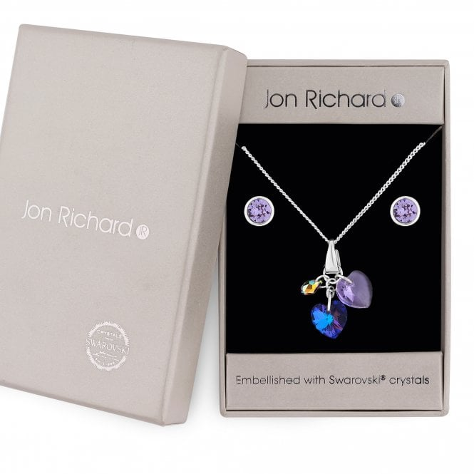 Silver Purple Crystal Heart Charm Jewellery Set Embellished With Swarovski Crystals