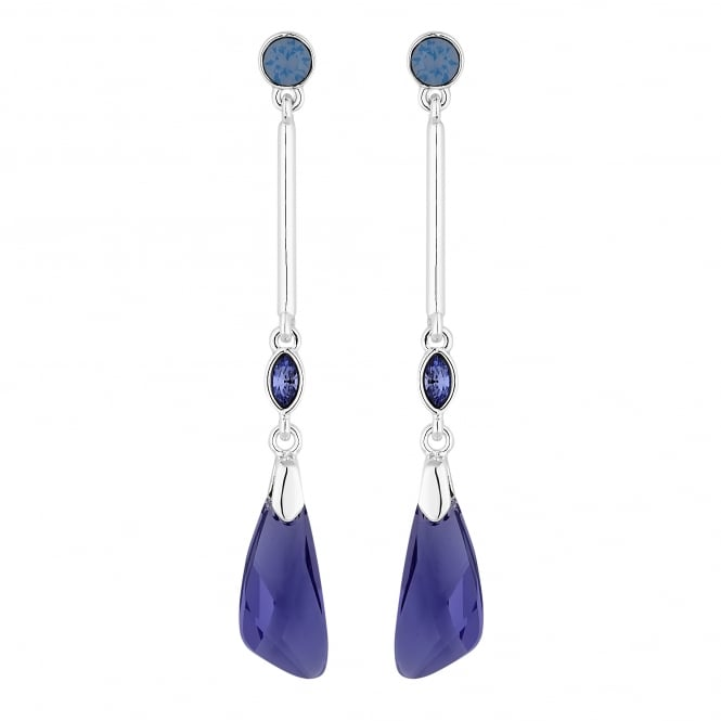 Silver Purple Faceted Crystal Drop Earring Embellished With Swarovski Crystals