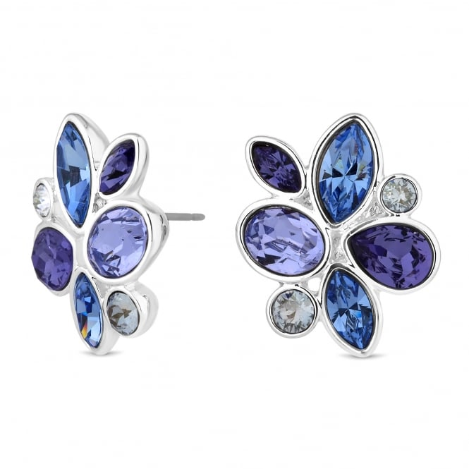 Silver Purple Floral Cluster Earring Embellished With Swarovski Crystals