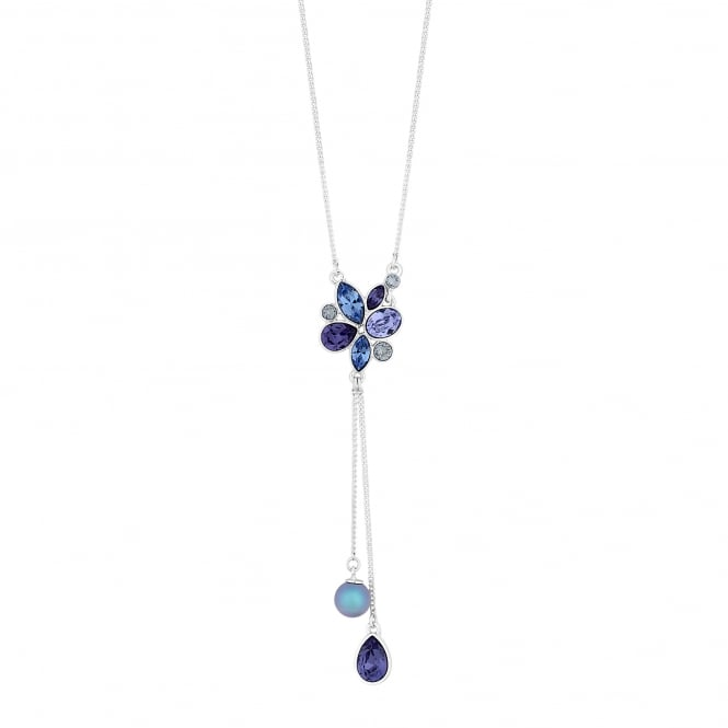 Silver Purple Pearl And Pear Drop Necklace Embellished With Swarovski Crystals