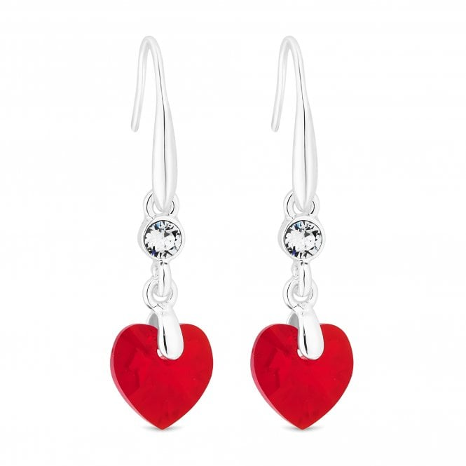 Silver Red Heart Drop Earring Embellished With Swarovski Crystals