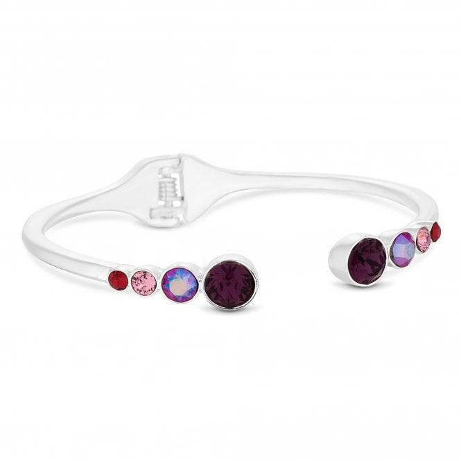 Silver Shimmer Reds Bangle Embellished With Swarovski Crystals