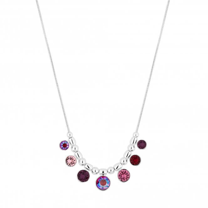 Silver Shimmer Reds Charm Necklace Embellished With Swarovski Crystals