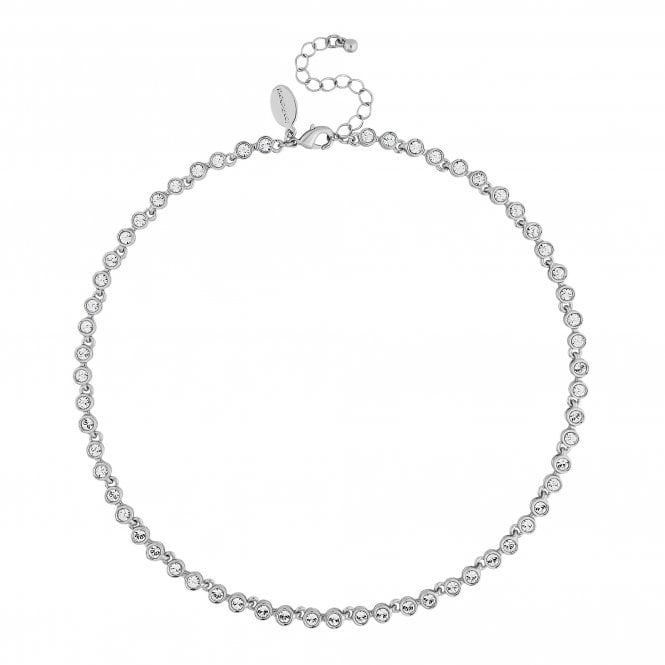 Silver Tennis Crystal Necklace Embellished With Swarovski Crystals