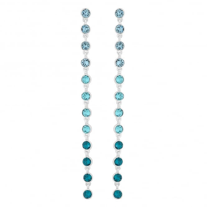 Silver Blue Ombre Statement Shoulder Duster Drop Earring Embellished With Swarovski Crystals