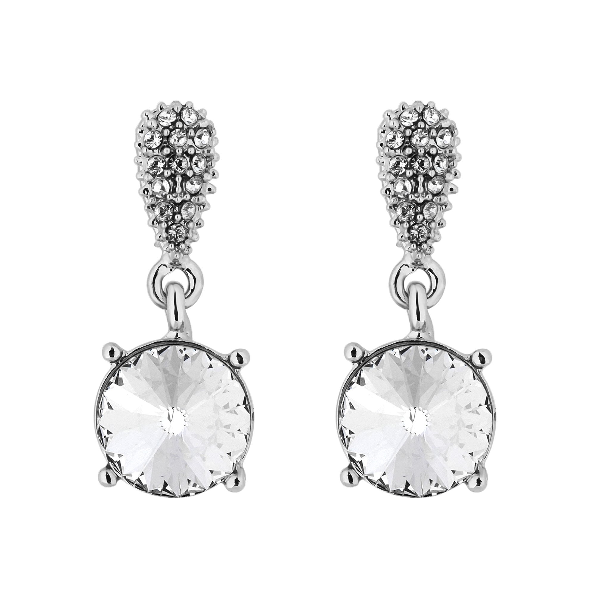 2b2bf36dad965 Swarovski Round Drop Earrings With Pave Pear Earrings