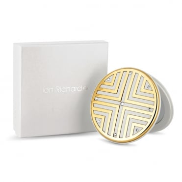 Gold Round Compact Mirror Embellished With Swarovski® Crystals