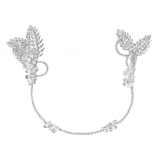 Maia leaf and crystal double wrap around comb