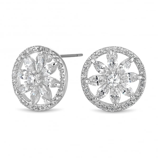 Jon Richard Maia Silver Plated Cubic Zirconia Flower Crystal Stud Earring